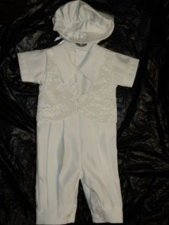 Baby Boys White Christening Baptism Suit M 6 12months