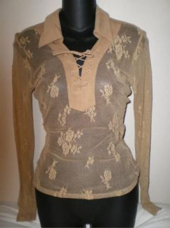 Guess Jeans Lace Long Sleeve Shirt Top Camel Sz S