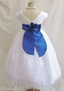 New VB White Royal Blue Pageant Wedding Kids Party Toddler Flower Girl Dress
