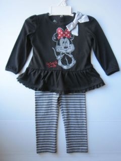 Disney Infant Baby Girls 2 Piece Black White Minnie Mouse Top Pants Set