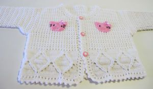 Hello Kitty White Baby Clothes Sweater Tops Crocheted Handmade 17 0 12 Months