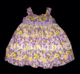 Infant Girls Crazy 8 Floral Easter Dress Purple Yellow Green Sz 12 18 Months