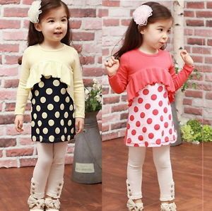 Baby Toddler Girls Kids Clothes 2 Piece Set Dress Top Leggings Size 2 3 4 5 6