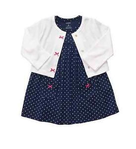Carters Baby Girl Clothes Dress Cardigan Set Navy Blue White 3 6 9 12 Months