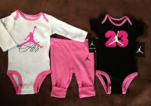 Nike Air Jordan Baby Girl 3pcs Jumpman Clothes Lot Outfit Set 6 9 MTH 24 MTH