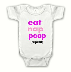 Funny Cute Eat Nap Poop Girl One Piece Creeper White Infant Baby Clothes