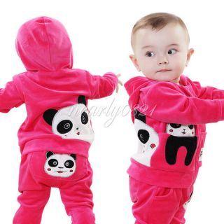 2pcs Baby Toddler Panda Hoodie Outerwear Top Pant Girl Children Clothing 12 18M