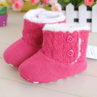 New Hot Pink Toddler Baby Girl Shoes Winter Wamer Soft Sole Boots C77 3 12M