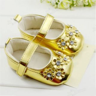 Infant Gold Toddler Baby Girl Princess Flower Shoes Age 9 12 Months US 3 65Z5L