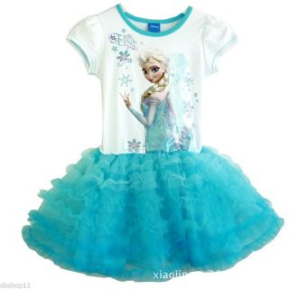New Disney Frozen Princess Elsa Girls Kids Cake Tulle Tutu Dresses 2T 4T