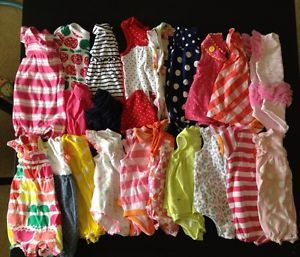 20 Piece Baby Girls Summer Clothing Lot 0 3 3 Month Dresses and One Piece