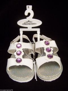 Ellemenno Sandals Shoes Sz 6 Toddler Girls White Purple