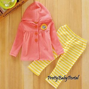 New Girls Baby Toddler Kid's Clothes 2piece Cotton Suit Hooded Tops Pants Pink
