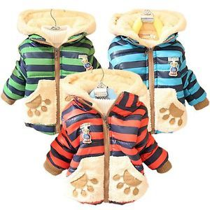 Baby Kid Boy Girl Winter Jackets Teddy Bear Hoodie Fleece Coat Outerwear 1T 3T