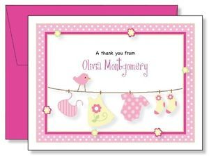 Custom Personalized Girls Baby Clothes Thank You Note Cards