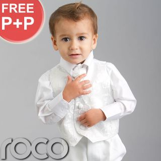 Baby Boys White Waistcaot Suit 4 Piece Wedding Pageboy Outfits Christening Suit