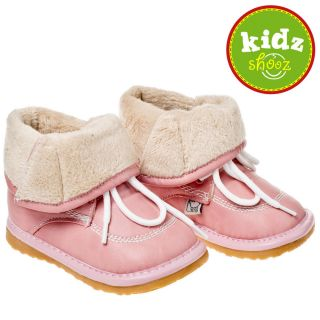 Girls Kids Toddler Leather Squeaky Boots Shoes Pink with Fleece Inners New