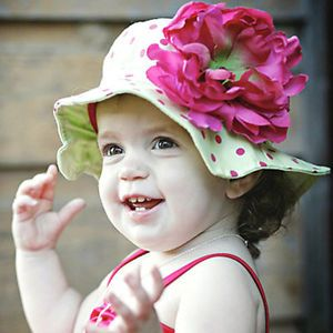 New Cotton Baby Toddler Girls Sun Hat Green Dark Pink Dots Flower Wide Brimmed