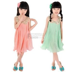 Girls Kids Baby Sequin Lapel Pleated Skirt Chiffon Party Dress Clothes Outfit