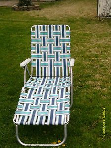 Vintage Aluminum Folding Webbed Chaise Lounger Chair Lawn Sun Tan Beach Sunbeam