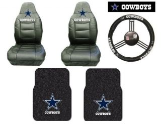 New NFL Dallas Cowboys Leather Set Seat Covers Steering Wheel Cover Floor Mats