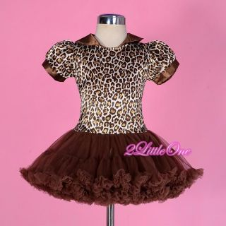 Girl Brown Leopard Print Pattern Pettidress Dress Tutu Pettiskirt Size 4T 108
