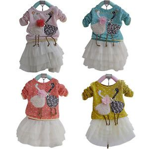 1pc Kid Baby Girl Swan Dress Knit Top Chiffon Skirt Tutu Costume Outfit Clothes