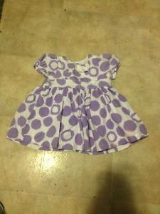Infant Baby Girl White Purple Polka Dot Dress The Children's Place TCP 0 3 Month