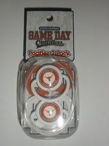 New Texas Longhorns Newborn Infant Baby Pacifier 2 Pack in Team Colors