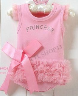 Newborn Baby Girls Pink Princess Romper Dress Bodysuit Jumpsuits Clothes 0 24M