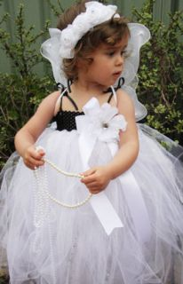NB 5Y Baby Girl Flower Girl Black White Sparkly Fairy Princess Dress