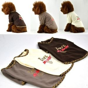 "100 Cotton Fashion ""Love My Baby"" Printing Dog T Shirts for Small Pet Clothes"