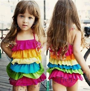 New Cute Baby Girls Rainbow Ruffle Layered One Piece Bathing Suit Swimwear