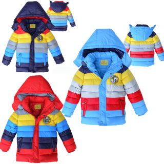 Boys Girls Clothes Winter Coat Kid Rainbow Down Jacket Size 3 6Y Outerwear GC021