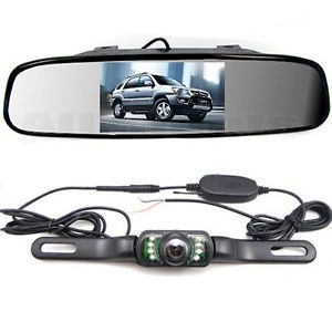 "4 3"" Car Mirror Monitor IR Night Wireless Reversing Parking Rear View Camera Kit"