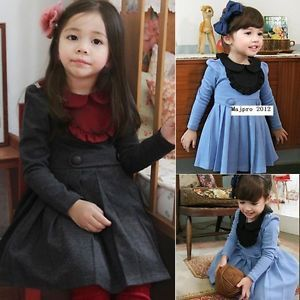 New Girls Kids Baby 2 9Y with Buttons Skirt Dress Outfit Set Clothing FT119