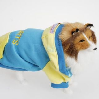 Pet Dog Puppy Hooded Hoodie Autumn Coat Shirt Tracksuit Clothes Apparel Size M