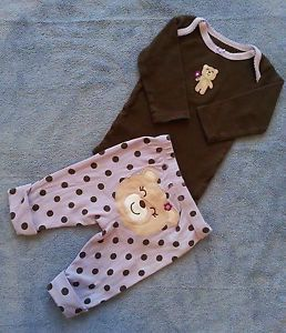 2 Piece Carter's Teddy Bear Outfit Sz 3 MO