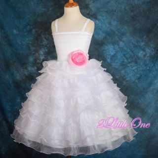 Diamante Tiered Dress Wedding Pageant Party White Pink Flower Girl Sz 2T 3T 200