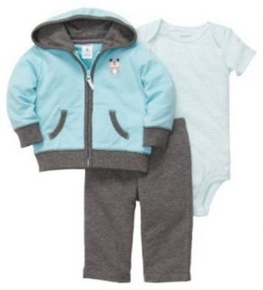 Carters 3 Piece Micro Set Jacket Onesie Pants Blue Puppy Dog 9M