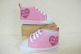 Tokyo Angel Pink Baby Girl Soft soled Pram Crib Shoes Converse Style Vans