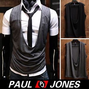 PJ New Trendy Mens Slim Fit Casual Vest Jacket Waistcoat Black Gray Size XS M