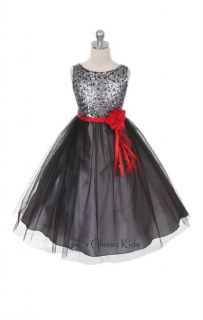 New Girls Silver Black Sequined Fancy Dress w Red Sash Party Christmas 300