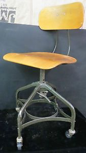 Vintage Industrial Toledo Uhl Draftsman Stool Machine Age Chair 1930's Walnut