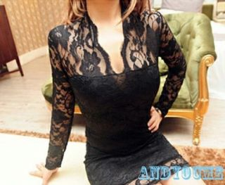 Fashion Womens Floral Lace V Neck 3 4 Sleeve Slim Cocktail Clubbing Party Dress