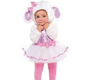 Baby Little Lamb Girls Costume Child Infant 6 12 Months Pink and White Dress