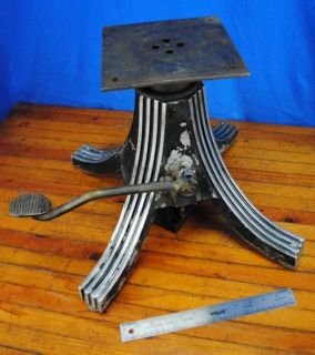 Vtg Deco Industrial Adjustable Barber Dentist Chair Base Light Lamp Part Loft