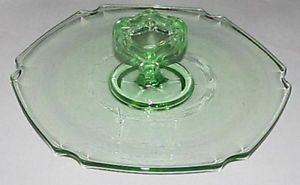 Green Depression Glass Clear Tidbit Plate with Handle Hexagon Sides Curved