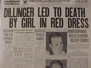 Vintage Newspaper Headline Crime Gangster Killed John Dillinger Gun Shot Dead