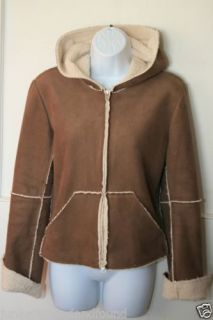 Velvet Womens Brown Faux Suede Shearling Hooded Jacket Coat Zip Up M C161